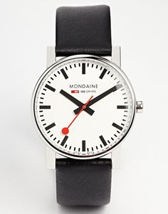 Watch by Mondaine Made from Stainless Steel Real Leather strap Swiss three hand movement Signature branding to dial Single crown Pin buckle fastening Adjustable strap length Wipe clean with a damp cloth Jewelry Accessories, Jewelry Design, Women Jewelry, Designer Jewellery, Latest Watches, Watches For Men, Men's Watches, Evo, Bracelets