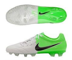 Nike Total 90 Laser IV FG Mens Firm Ground Soccer Cleats( White and Green)
