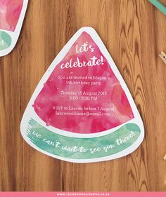 Free Printable Watermelon Party Invites. Download the template here to make your own!