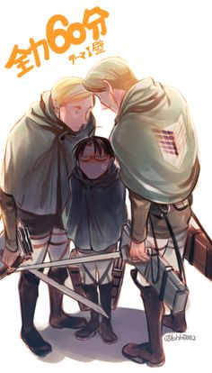 Erwin and Mike being MEAN to Levi