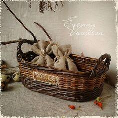 """Купить Плетеный набор """"С любовью"""" - плетеная корзина, набор для кухни, для интерьера, кувшин, поднос"""