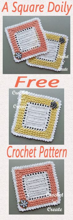 Free crochet pattern for square doily. #crochet