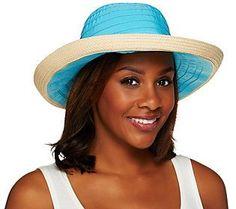 San Diego Hat Co. UPF 50+ Ribbon Hat with Raffia Brim