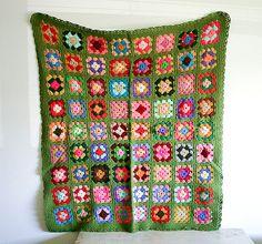 vintage crochet granny square blanket, still like the green border idea