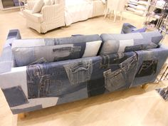 Sofa covered in jeans