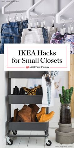 Space Savers: IKEA Hacks for Small Closets | Teeny tiny closet got you down? After you've winnowed your clothes down to the essentials with our Closet Cure (of course), check out these nine clever ways to use IKEA products to squeeze out a little extra storage in your closet.