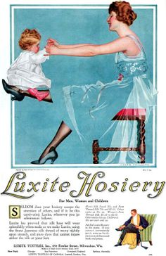 Kittyinva@Tumblr: 1918 ad for Luxite Hosiery by Coles Phillips.