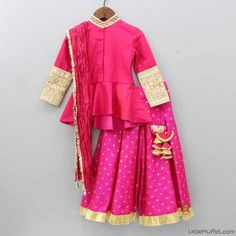 Shop online for Indian Ethnic wear for your baby, toddler or child. Choose from a range of modern or traditional, vibrant and colourful outfits. We also customise Indian Ethnic Wear. Dresses Kids Girl, Baby Dresses, Kids Outfits, Stylish Dress Designs, Stylish Dresses, Kids Indian Wear, Sharara Designs, Indian Wedding Wear, Kids Gown