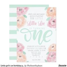 Little girl's birthday party flower invitation This flowery first birthday party invitation is perfect for that sweet little girl in your life. The soft pink, peach, and mint are the perfect whimsical color combo for a birthday party celebration. Girl First Birthday, Birthday Fun, First Birthday Parties, First Birthdays, Special Birthday, Birthday Ideas, 1st Birthday Invitations, Custom Invitations, Birthday Party Celebration