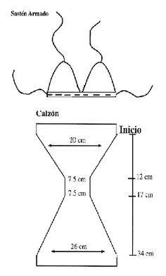 Ganchillo y dos Agujas: Bkini en crochet