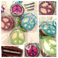 Set of 12 Peace sign Chocolate covered oreos, Peace sign party favors
