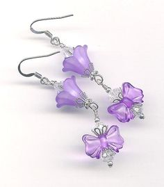 5.00 CLEARANCE SALE-Flower Purple Lucite Bow Earrings with Swarovski Austrian Crystals and Silver Filigree Bead Caps by myjuliejewels on Etsy