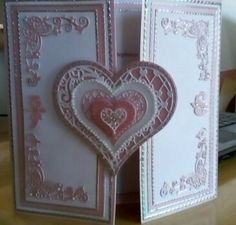 Made by Heather Horswill - It was a wedding card - red card and parchment, and decoupaged the inside, and Spectrum noir  tattered lace dies.