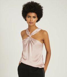 Neavah Blush Satin Halterneck Top – REISS Front Design, Reiss, Slim Legs, Halter Neck, Blush Pink, Camisole Top, Trousers, Satin, Blazer