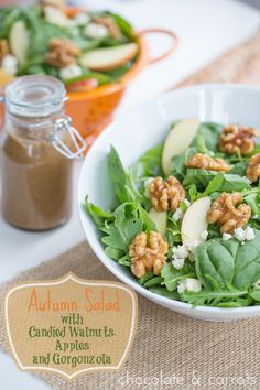 Autumn Salad with Candied Walnuts, Apples and Gorgonzola