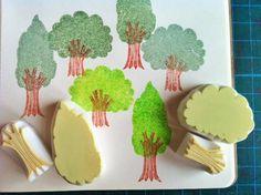 forest rubber stamp. hand carved tree rubber von talktothesun