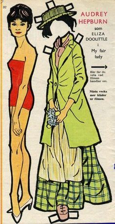 """Audrey Hepburn as Eliza Doolittle in the film """"My Fair Lady"""" (1 of 4), a Swedish paper doll, 1965"""