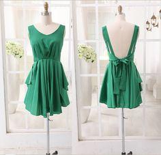 Backless Chiffon Bridesmaid Dress Prom Dress Knee Length Short Dress in Green/Orange Color on Etsy, $69.00