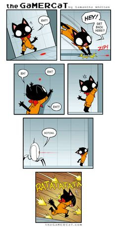 Lmao Gamercat and Portal! Gamer Cat, Gamer Humor, Gaming Memes, Portal Memes, Portal 2, Video Games Funny, Funny Games, Cat Comics, Funny Comics