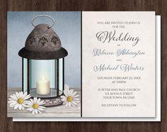 Lantern Daisy Blue Rustic Wedding Invitations