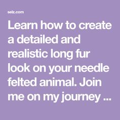 Learn how to create a detailed and realistic long fur look on your needle felted animal. Join me on my journey as I demonstrate the art of adding layers of wool to a miniature donkey; adaptable techniques for any animal you are working on.