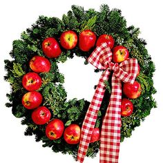 Ribbons and Bows for Christmas Wreaths - Plaid at Two: Red-and-white plaid ribbon underscores the country theme of this apple wreath. It is wired at the two o'clock position.