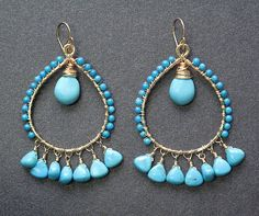 Aphrodite 55 Hammered drop hoops with by CalicoJunoJewelry on Etsy, $114.00