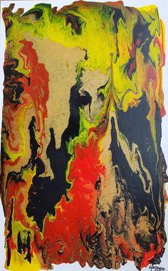 Abstraktes Bild in der Farbpalette Gelb-Orange-Schwarz Bewegung,Höhlung,Spirale....... Acryl auf Leinwand 50x70 Rahmentiefe ca. 4cm Original und Unikat handsigniert Atelier Hermann