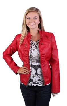 faux leather jacket features rouched sides and zip pockets