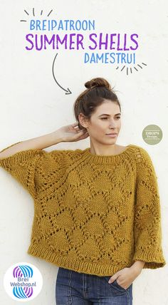 """Knitted Sweater """"Summer Shells"""" with raglan and lace pattern – Drops Design – Women – knit # knitting … Sleeping Fox, Knitting Patterns, Crochet Patterns, Drops Design, Moss Stitch, Lang Yarns, Machine Embroidery Applique, Knitted Poncho, Raglan"""
