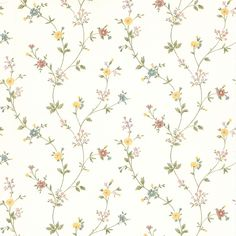 A delicate daisy floral pattern gives the Brewster Hana Daisy Trail Wallpaper elegant, vintage appeal. The solid sheet vinyl paper is prepasted. Wallpaper Stores, Wallpaper Samples, Home Wallpaper, Wallpaper Roll, Wallpaper Direct, Luxury Wallpaper, Green Wallpaper, Wallpaper Ideas, Brewster Wallpaper