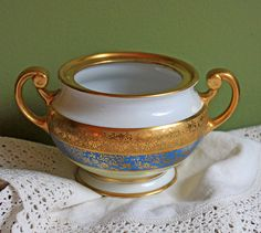 Hutschenreuther LHS Antique Porcelain Open Sugar Bowl with