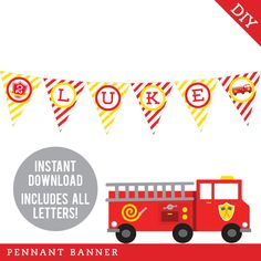 Paper goods and DIY printables for parties and holidays Diy Banner, Pennant Banners, Name Banners, Happy Birthday Name, Circus Birthday, Firefighter Birthday, Printable Banner, Printables, Age