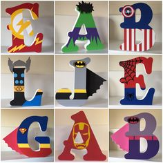 Superhero/Marvel Personalised Freestanding MDF Wooden Letters by AngelaCLetters on Etsy - Visit to grab an amazing super hero shirt now on sale! Superhero Letters, Diy Letters, Letter A Crafts, Painted Letters, Wood Letters, Hand Painted, Decorate Wooden Letters, Painting Wooden Letters, Name Letters