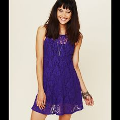 """Free People """"Miles of Lace"""" dress Brand new never worn royal purple lace dress, has been sitting in my closet-just trying to get rid of some things! Make me an offer.. ☺️ Free People Dresses"""