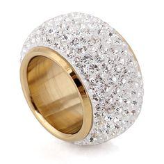 Commercio all'ingrosso brillante strass completa di barretta anelli per la donna paragrafo lusso di modo nuovo oro placcato