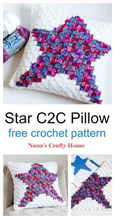 The Star C2C Pillow is a free crochet pattern or a simple country style pillow!  Perfect 4th of July or Christmas holiday decor.  Works up quickly and is a great beginner friendly corner to corner (c2c) pattern with minimum color changes!  #nanascraftyhome Crochet Stars, C2c Crochet, Crochet Dishcloths, Free Crochet, Crochet Pillow Pattern, Crochet Cushions, Corner To Corner Crochet Pattern, I Love This Yarn, Crochet Home Decor