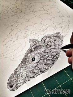 Progress Pic #1 of a Pangolin. Drawn with a Tombow Zoom L105 Ballpoint pen.