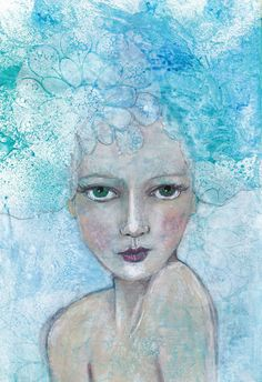 Forget me not - Art Print of mixed media painting by Helen Platania by HelenPlataniaArt on Etsy