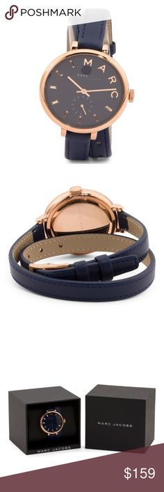 ✨NWT✨ Marc Jacobs Navy Sally Double Wrap Watch Brand new in box! Authentic Marc by Marc Jacobs Sally genuine leather double wrap watch. Navy leather with rose gold tone stainless steel. 36mm. Buckle closure. Comes with box and care booklet. ***No Trades*** Marc by Marc Jacobs Accessories Watches