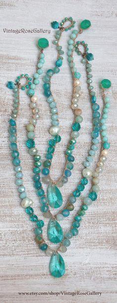 Aqua Blue Crochet Necklace, Summer Boho Chic Necklace, Aqua Crystal Crocheted Necklace by VintageRoseGallery Etsy Jewelry, Boho Jewelry, Vintage Jewelry, Jewelry Box, Crochet Necklace, Beaded Necklace, Crochet Jewellery, Necklaces, Crochet Summer
