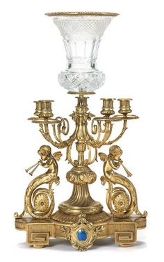 A Louis XVI style gilt bronze and cut glass centerpiece Urn Vase, Vases, Antique Brass Chandelier, Glass Centerpieces, Louis Xvi, Cut Glass, Candlesticks, Decorative Items, January