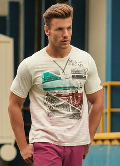 Camiseta Masculina Actual Bege Estampado - Posthaus