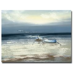 """Trademark Fine Art Rio """"Low Tide"""" Canvas Art at Lowe's. This ready to hang, gallery-wrapped art piece features two boats on the ocean during low tide. Giclee (jee-clay) is an advanced printmaking process for Canvas Art Prints, Painting Prints, Canvas Wall Art, Canvas Canvas, Canvas Size, Fine Arts Subjects, Pastel Sunset, Canvas Online, Landscape Prints"""