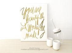 "Items similar to Bible Verses on Canvas with Gold Lettering, ""Wonderfully Made"" Scripture Art Psalm Gallery Wrapped Canvas, 5 Sizes Available on Etsy Bible Verse Canvas, Scripture Art, Bible Verses, Printable Scripture, Gold Bathroom Accessories, Wedding Canvas, Canvas Art Prints, Canvas 5, Dorm Decorations"