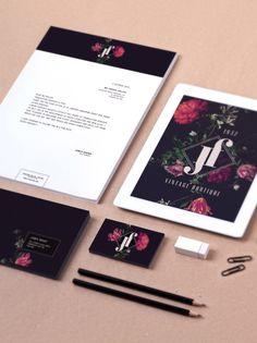 Jf boutique brand identity on behance corporate design, brand identity desi Corporate Identity Design, Brand Identity Design, Graphic Design Branding, Visual Identity, Letterhead Design, Business Branding, Brochure Design, Stationary Branding, Commercial Printing