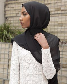 "islamic-fashion-inayah: "" ntricate lacing with sleeve detailing. Chloe Lace Dress Black Maxi Georgette Hijab www.inayah.co """