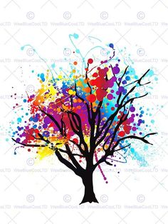 PAINT SPLAT ABSTRACT TREE RAINBOW PHOTO ART PRINT POSTER PICTURE BMP514A in Home & Garden, Home Décor, Posters & Prints | eBay!