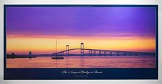The view of the Newport Bridge from Newport's historic Point section. Includes Goat Island Lighthouse. POSTER SIZE: 20 x 38.