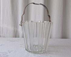 Vintage Glass Ice Bucket Metal Handle Barware
